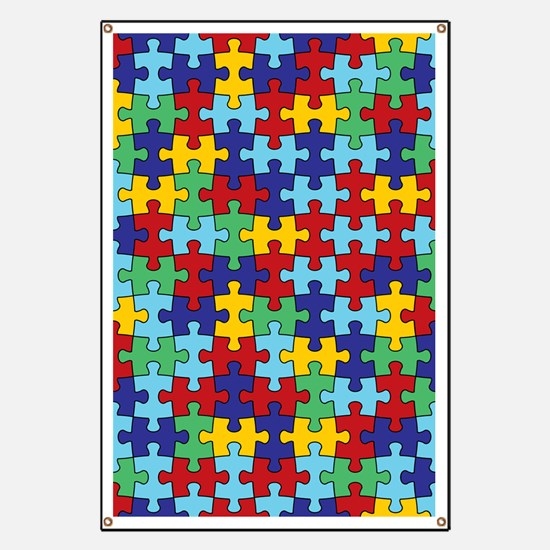 Autism Awareness Puzzle Piece Pattern Banner