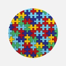 "Autism Awareness Puzzle Piece Pattern 3.5"" Button"
