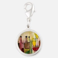 Tuscany Wine Silver Round Charm