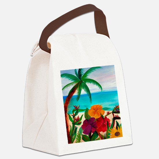 Tropical Floral Beach Canvas Lunch Bag