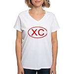 XC Oval (Red) Women's V-Neck T-Shirt