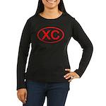 XC Oval (Red) Women's Long Sleeve Dark T-Shirt