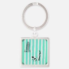 A walk in Pisa, Italy Turquoise Square Keychain