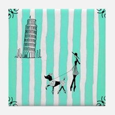 A walk in Pisa, Italy Turquoise Tile Coaster