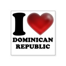 "I Heart Dominican Republic Square Sticker 3"" x 3"""