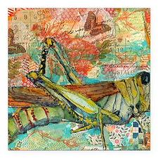 "Grasshopper Summer Square Car Magnet 3"" x 3"""