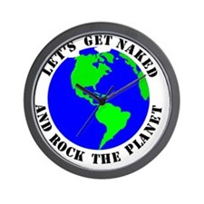 Lets Get Naked  Rock The Planet_Black T Wall Clock