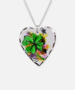 Happy St Paddys Day Necklace Heart Charm