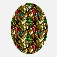Jewelled Leaves Oval Ornament
