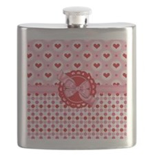 Red Pink Hearts and Bows Flask