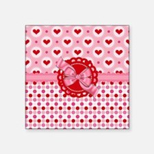 """Red Pink Hearts and Bows Square Sticker 3"""" x 3"""""""