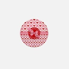 Red Pink Hearts and Bows Mini Button