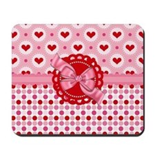 Red Pink Hearts and Bows Mousepad
