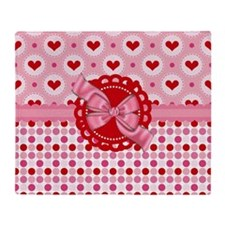Red Pink Hearts and Bows Throw Blanket