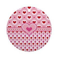 Country Hearts Round Ornament