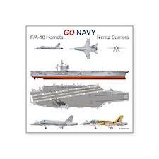 "F/A-18 Hornet USS Nimitz CV Square Sticker 3"" x 3"""