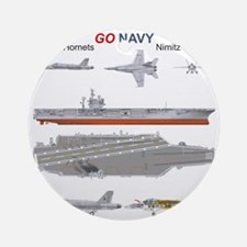 F/A-18 Hornet USS Nimitz CVN-68 Round Ornament