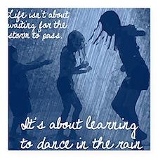 "Dancing in the Rain Square Car Magnet 3"" x 3"""