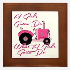 Pink Tractor Framed Tile