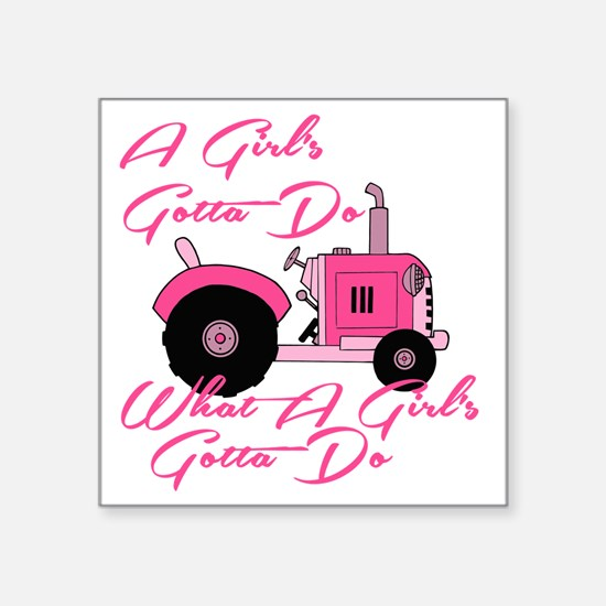 """Pink Tractor Square Sticker 3"""" x 3"""""""