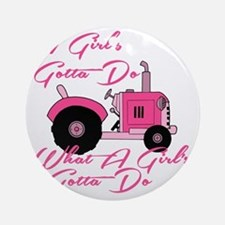 Pink Tractor Round Ornament