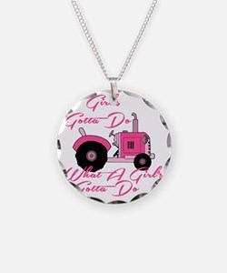 Pink Tractor Necklace