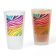 Rainbow Zebra Print Drinking Glass