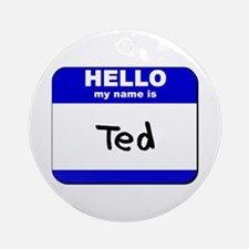 hello my name is ted  Ornament (Round)