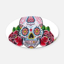 Skull and Roses Oval Car Magnet