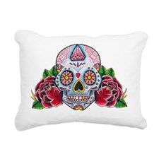 Skull and Roses Rectangular Canvas Pillow