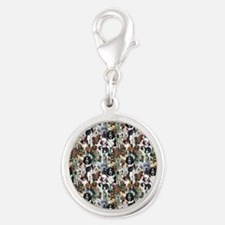 puppies and kittens Silver Round Charm