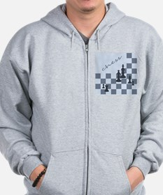 Chess King Pieces Zip Hoodie