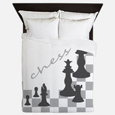 Chess King and Pieces Queen Duvet