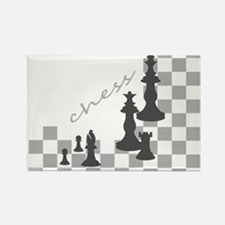 Chess King and Pieces Rectangle Magnet