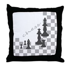 Chess King and Pieces Throw Pillow
