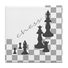 Chess King and Pieces Tile Coaster
