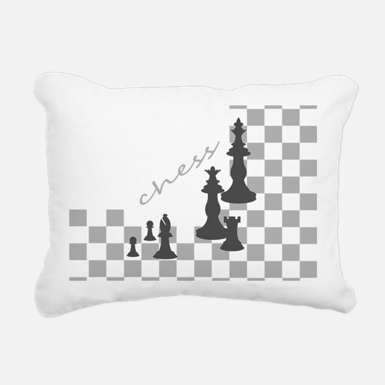Chess King and Pieces Rectangular Canvas Pillow