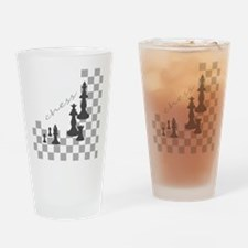 Chess King and Pieces Drinking Glass