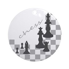 Chess King and Pieces Round Ornament