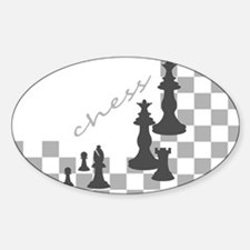 Chess King and Pieces Sticker (Oval)