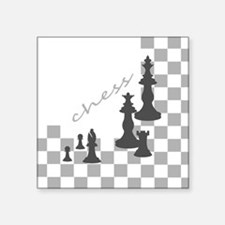 "Chess King and Pieces Square Sticker 3"" x 3"""