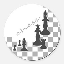 Chess King and Pieces Round Car Magnet
