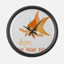 Here Fishy Large Wall Clock