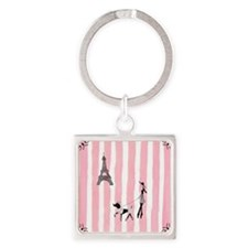 A walk in Paris Pink Square Keychain