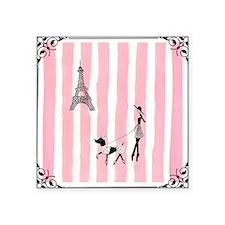 """A walk in Paris Pink Square Sticker 3"""" x 3"""""""