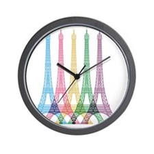 Eiffel Tower Pattern Wall Clock