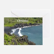 Black Sand Beach Hawaii Greeting Card