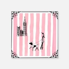 "A walk in London Pink Square Sticker 3"" x 3"""