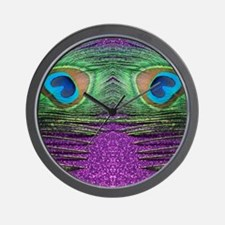 Glittery Purple Peacock Curtains Wall Clock