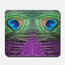 Glittery Purple Peacock Curtains Mousepad